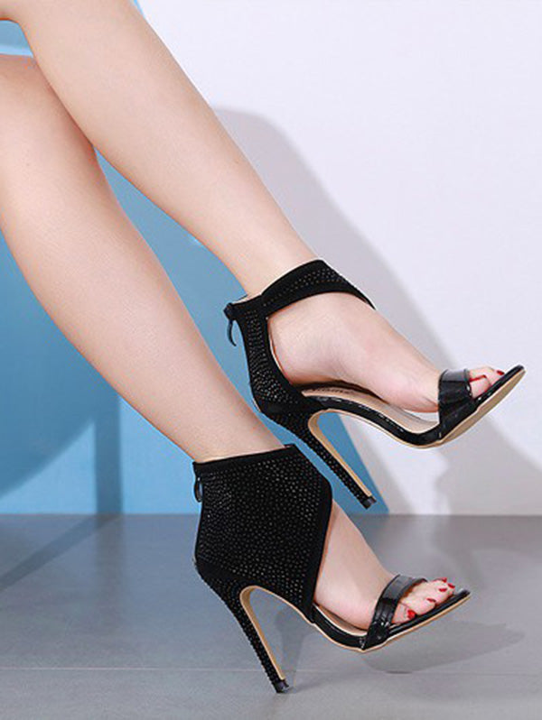 Black Bandge Pointy Peep-toe High Heels