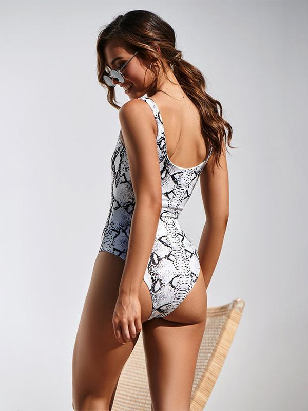 Snakeskin&Leopard Printed One-piece Swimwear