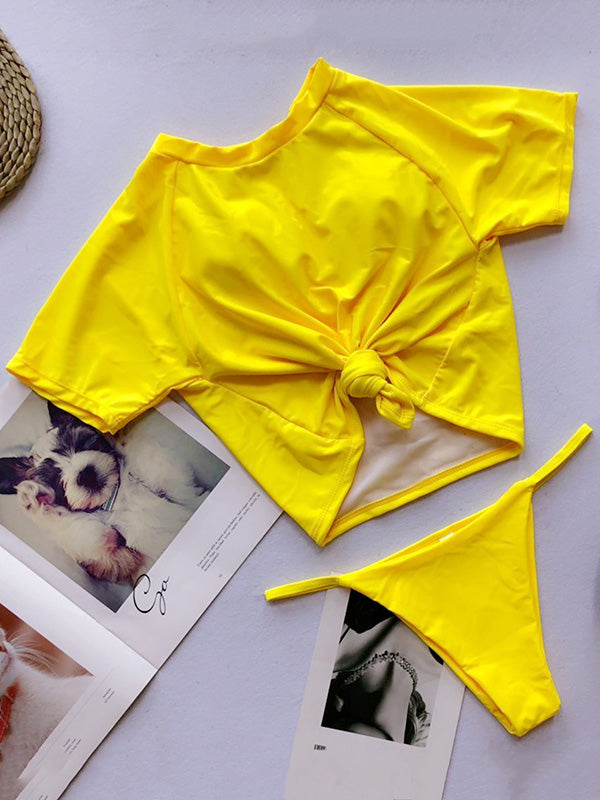 Two-pieces Solid Short Sleeves Bikinis Swimwear