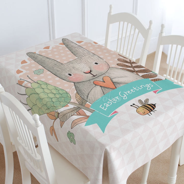 Easter Greeting Rabbit Casual Printed Tablecloth