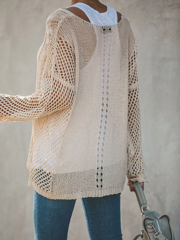 Hollow Solid Color V-neck Knitting Sweater Tops