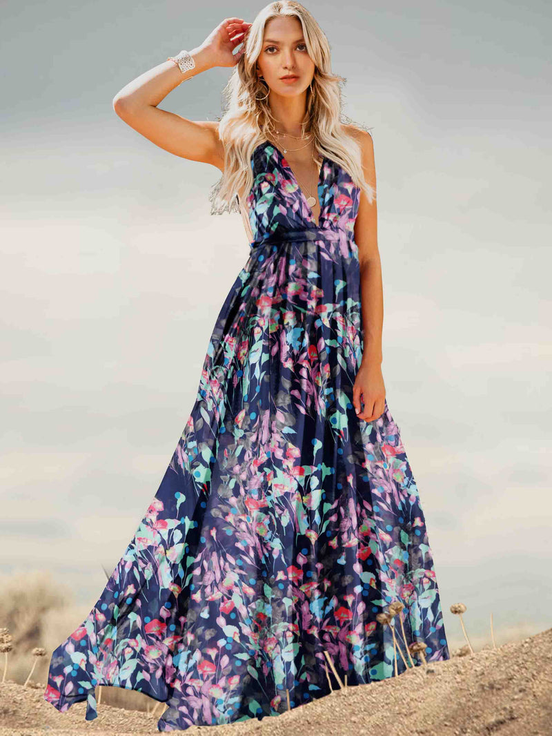 Backless Spaghetti-neck Floral Maxi Dress