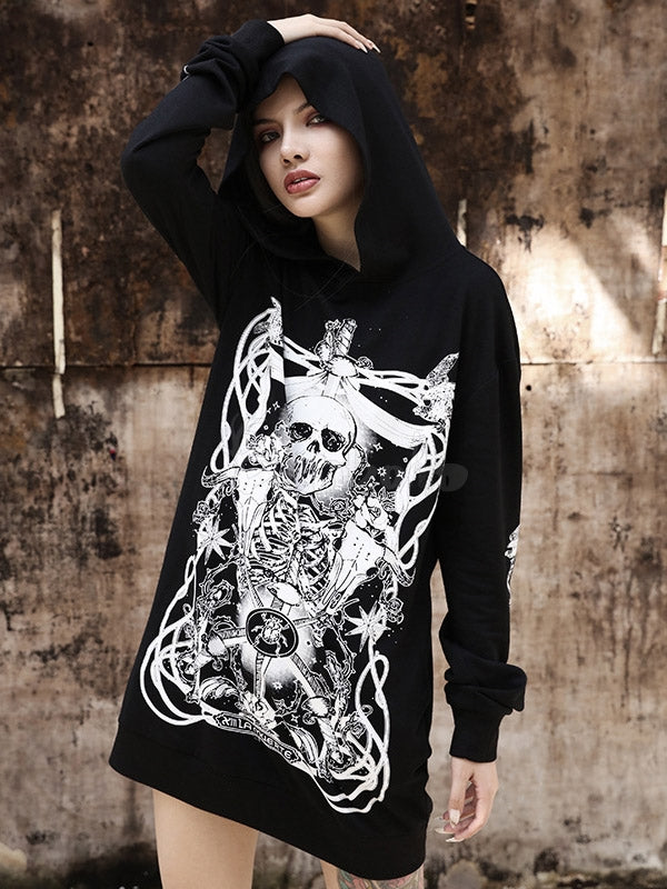 Lazy Style Pirate Skeleton Print Hoodie