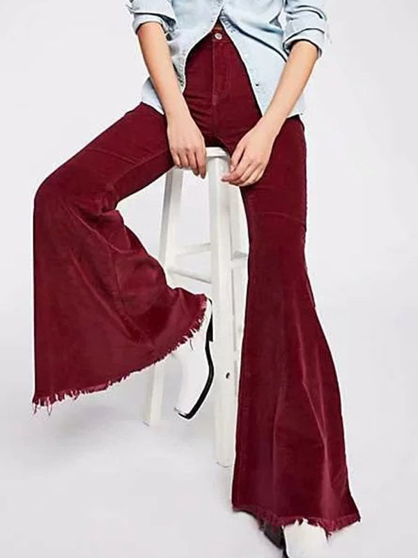 Solid Color Bell-bottom Pants