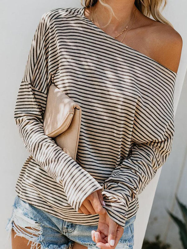 Simple Stripes Loose Blouses&Shirts Top