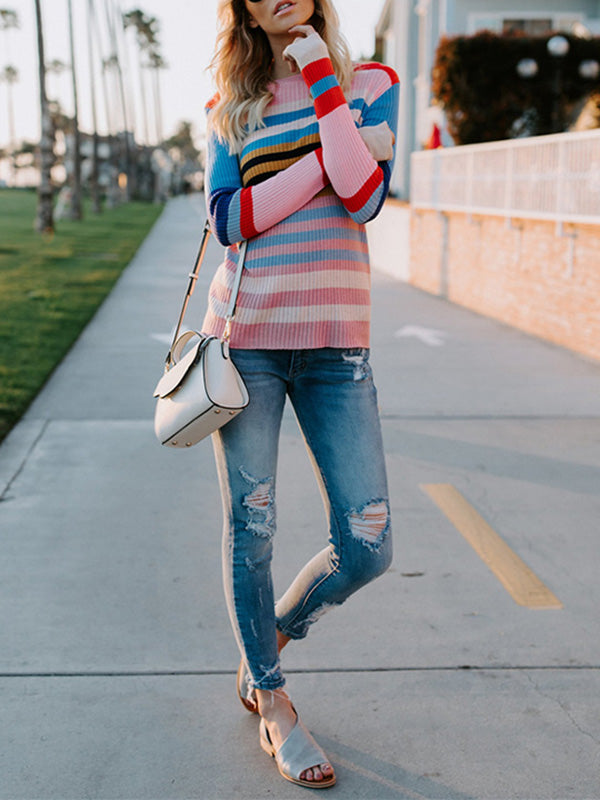 Multicolor Stripes Round-neck Sweater Tops