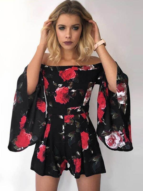 Flared Sleeves Printed Off-the-shoulder Romper