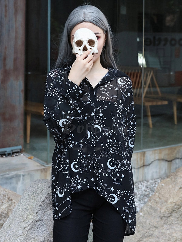 Lazy Style Starry Print See-Through Shirt