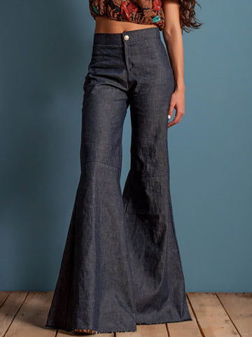 Simple Denim Flared Bell-bottom