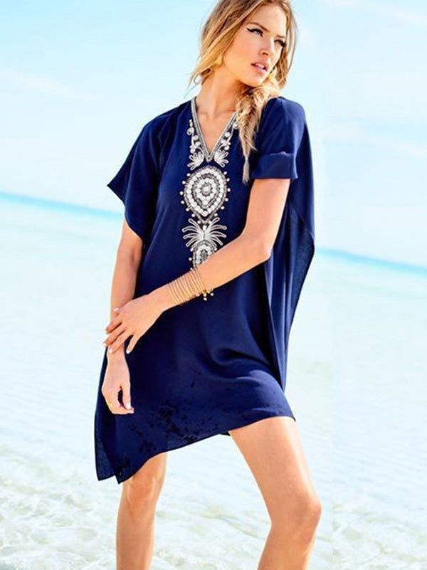 Loose Embroidered Kaftan Cover-up