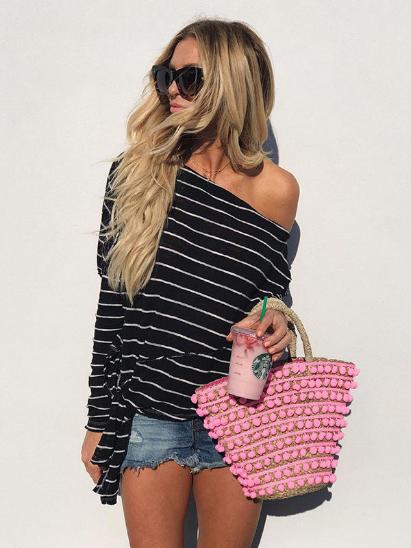 Stripes One Shoulder Sexy Bohemia Shirt Top