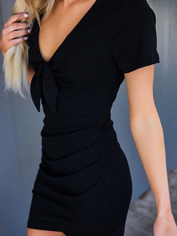 Black Bow-embellished V-neck Bodycon Dress