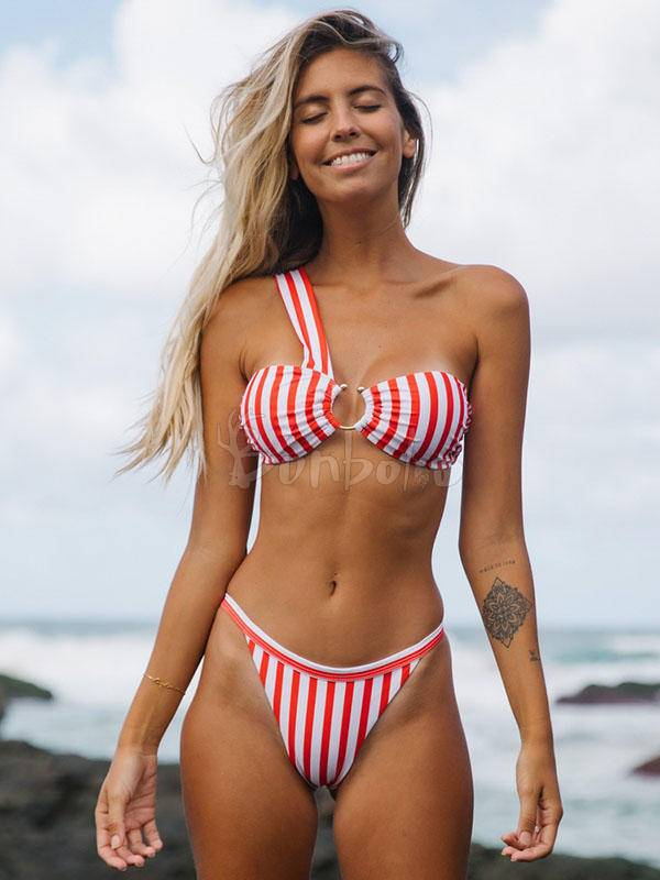 Striped-Print Asymmetric Split Bikini Swimsuit