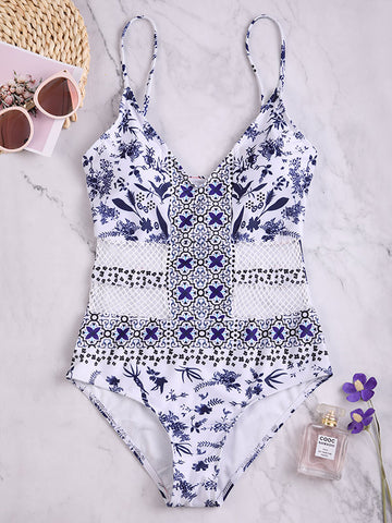Hollow Sexy Bandage Solid One-piece Swimwear