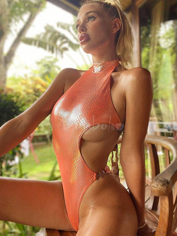 Stand Collar Snake-Print Backless One-Piece Swimwear