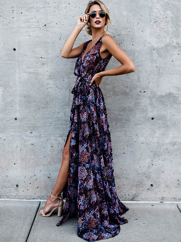 Bohemia Sleeveless V-neck Belted Maxi Dress