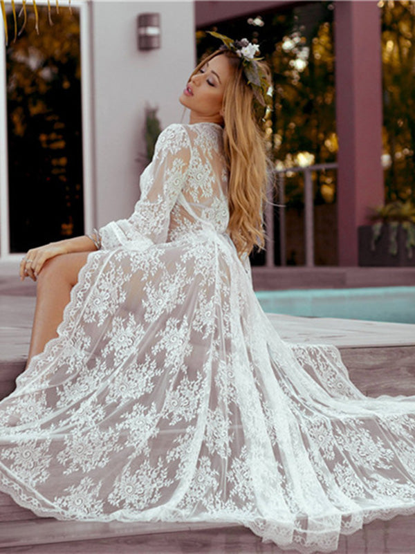 Pretty Long Lace Maxi Beach Dress Cover Up