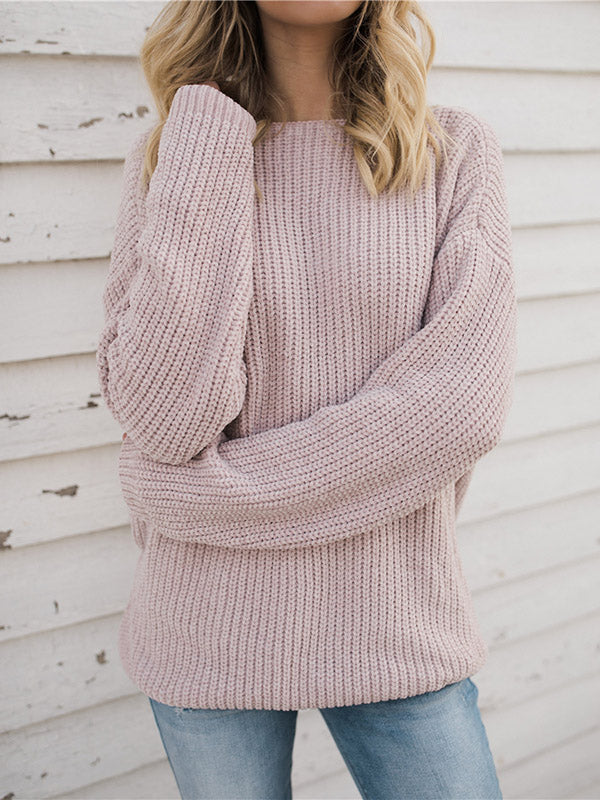 Loose Solid Color Reversible Sweater Tops