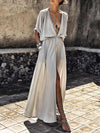 Deep V-neck Long Sleeves Split-side Maxi Dress
