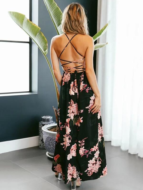 Spaghetti Split-side Backless Bohemia Dress