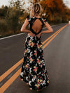 Beautiful Chiffon Bohemia Floral 3/4 Sleeve V Neck Maxi Dress 02