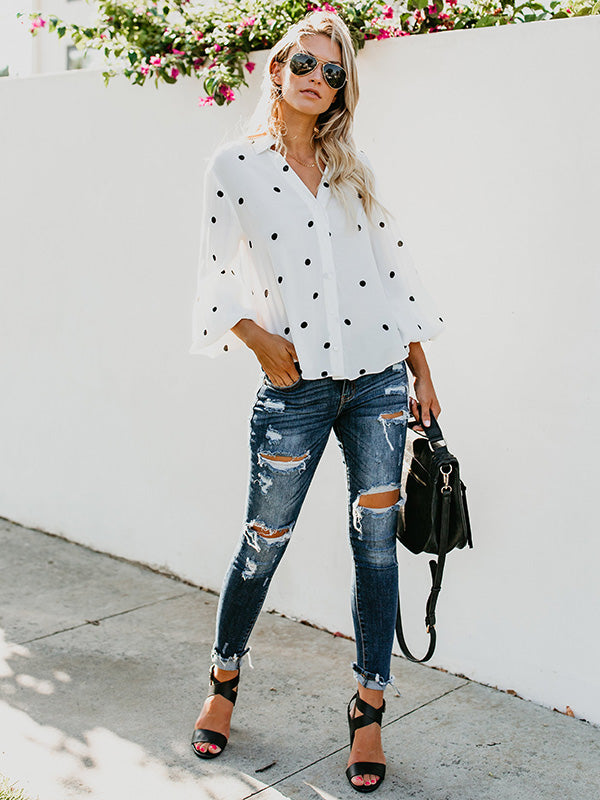 Sexy Puff Sleeves Polka-dot Blouses&shirts Tops