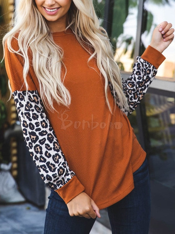 Leopard Printed Split-Joint Knitted Top