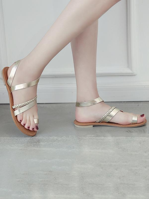 Simple Solid Color Flat Sandals Shoes