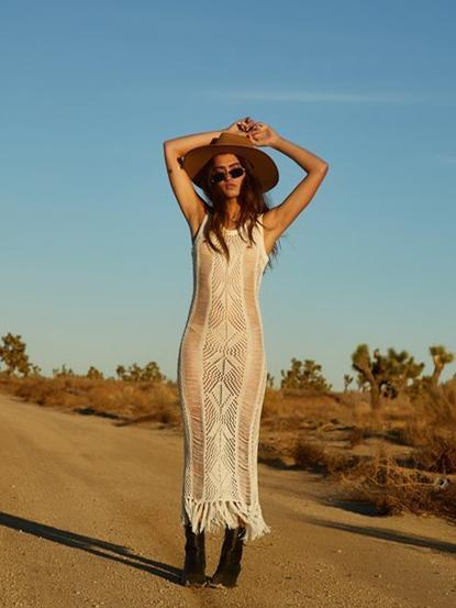 Knitting Hollow Tassels Cover-Ups Swimwear