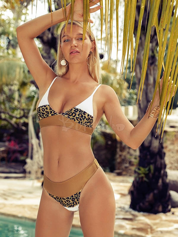 Leopard Splice-joint Empire Bikini Swimsuit