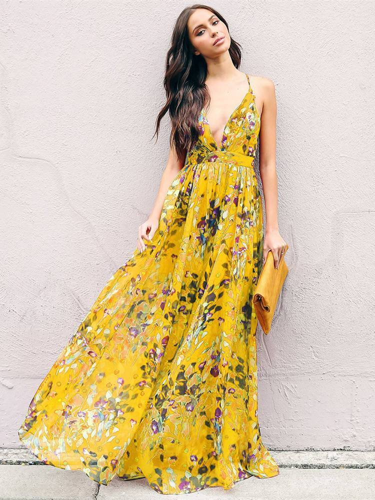 pre order best sneakers new high quality Bohemia Floral V Neck Backless Maxi Dress – bonboho