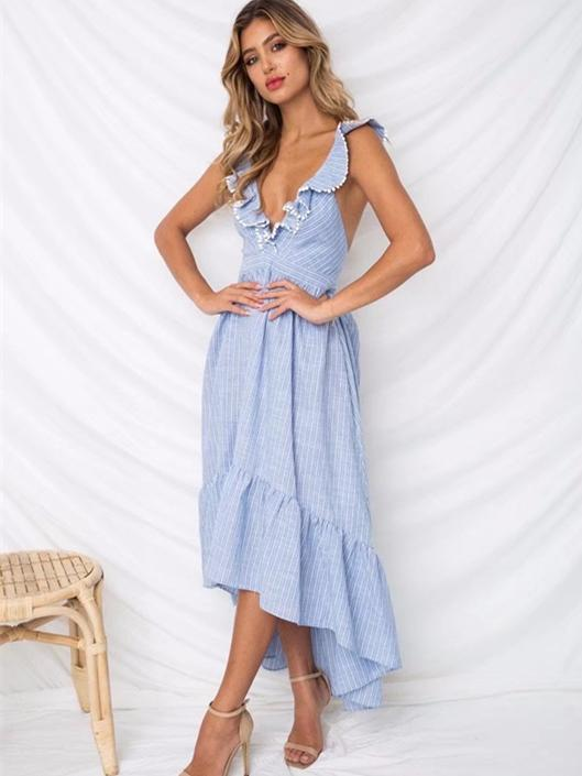 Fabala Deep V-Neck Backless Maxi Dresses