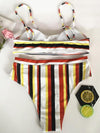 Multicolor Stripes Two-pieces Bikini Swimwear
