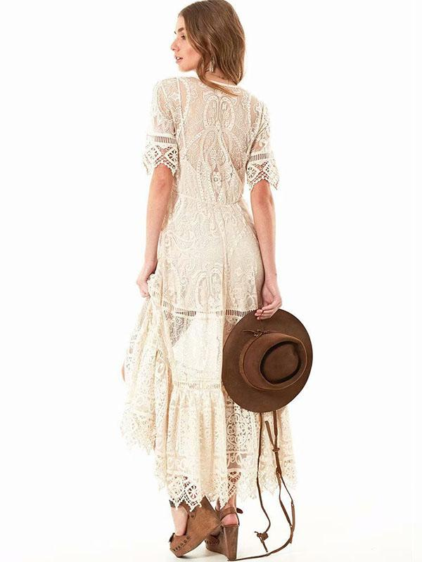 Lace See Through Button Front Maxi Dress