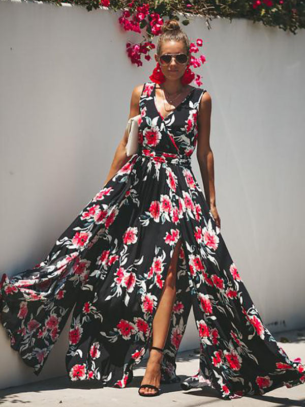 Black Floral Printed Sleeveless Bohemia Long Dress
