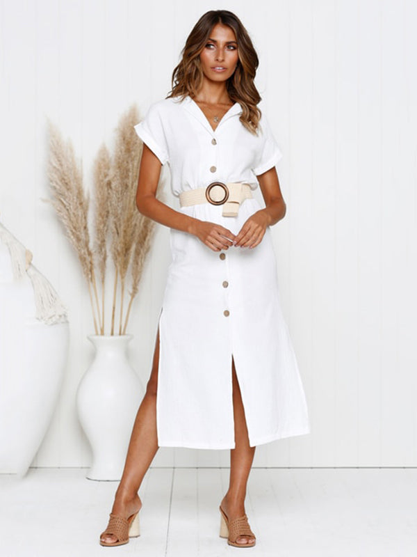 Simple Split-side V-neck Shirt Midi Dress