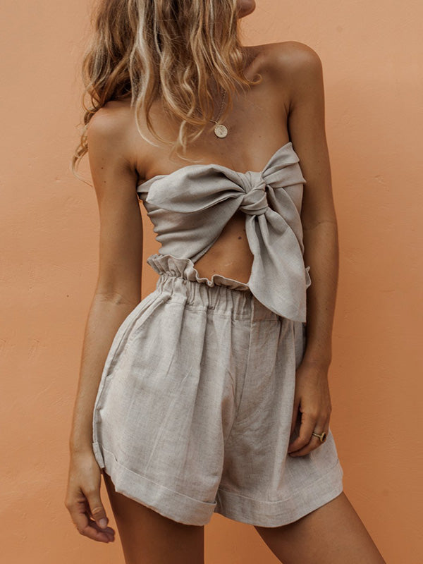 Sexy Short Strapless Top&Loose Shorts Suits
