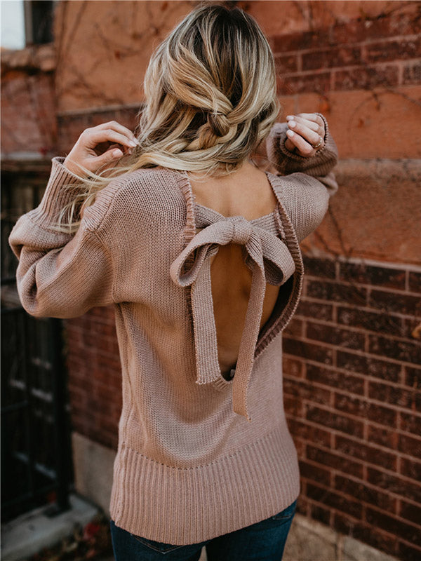 Sexy Backless Bandage Sweater Tops