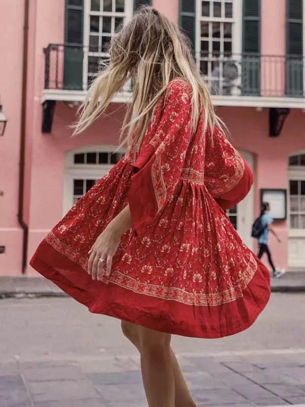 Retro Round Neck Floral Loose Mini Dress
