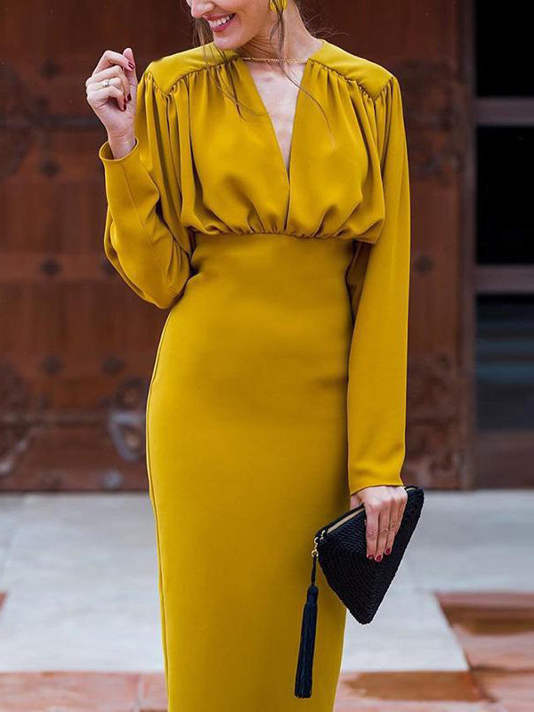 Long Sleeves Bodycon Midi Dresses