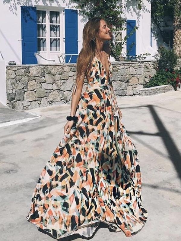 Spaghetti Sexy Backless Floral Maxi Dress