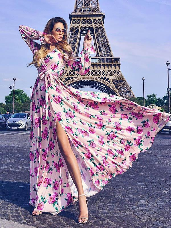 Crisscross Bandage Floral Long Sleeve Maxi Dress