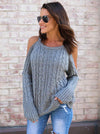 Solid Color Knitting Round-neck Sweater Tops