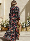V-neck Flared Sleeves Floral Maxi Dress
