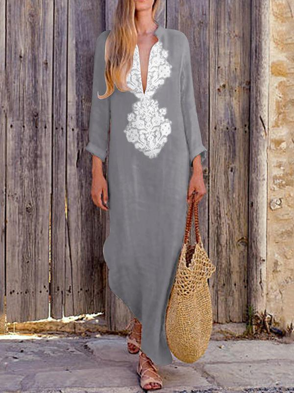 a3d0a0988a Deep V-neck Long Sleeves Split-side Maxi Dress – bonboho
