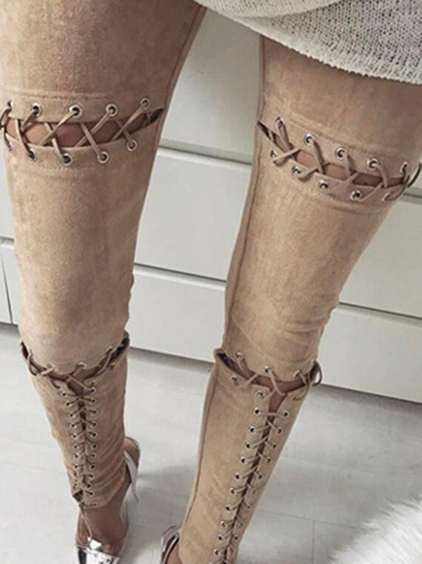 6 Colors Fashion Bandage Elastic Pants Bottoms