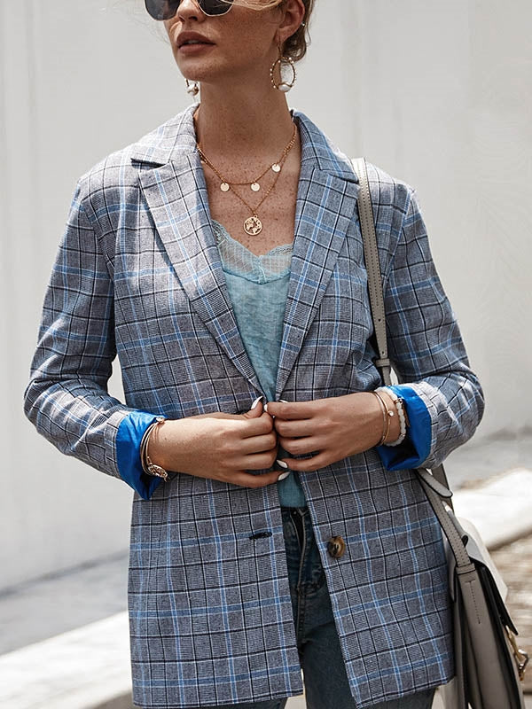 Plaid Lapel Blazer Coat