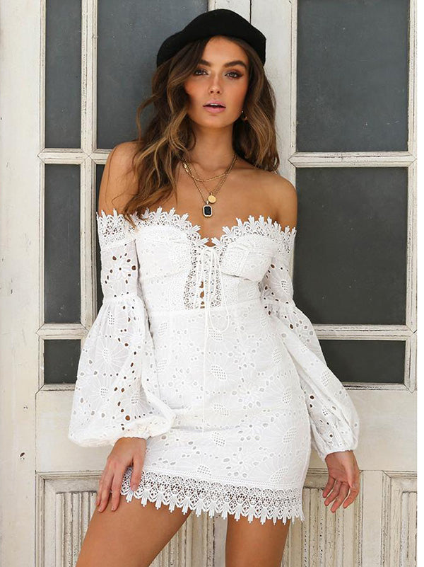 Bohemia Hollow Puff Sleeves Mini Dresses