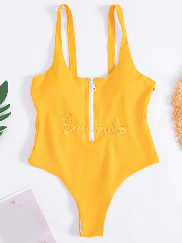 Solid Color One-Piece Swimwear