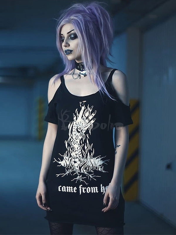 Loose Cold Shoulder Printed Gothic T-shirt